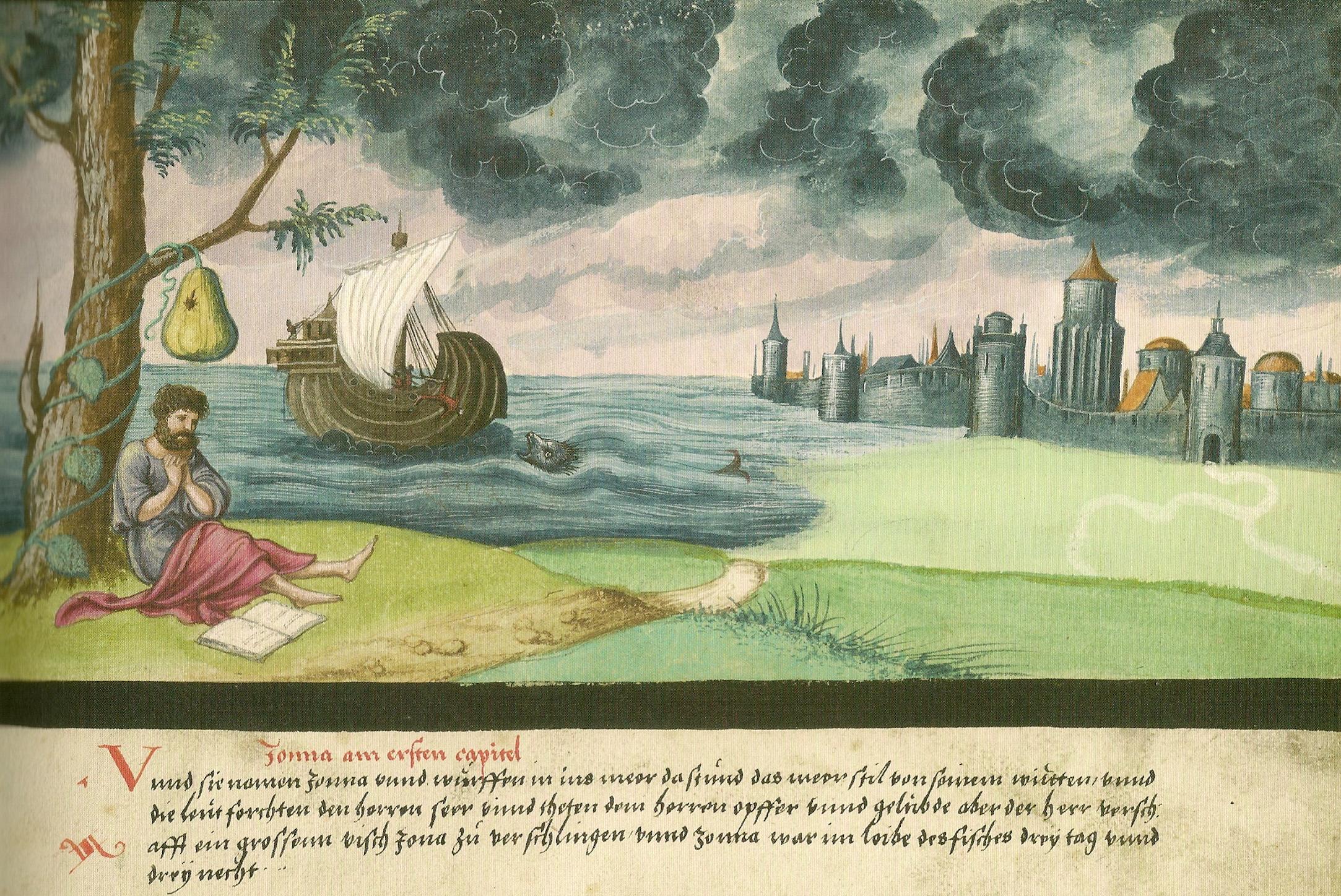 """Augsburger_Wunderzeichenbuch_—_Folio_14 _""""Jonas_und_der_Wal 1552"""