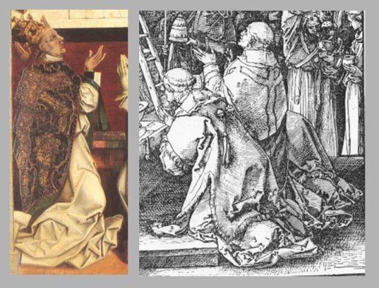 Durer Messe de St Gregoire 1511 comparaison Gregoire