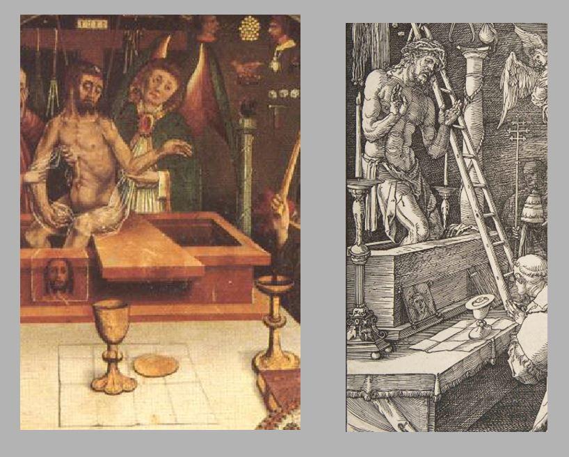 Durer Messe de St Gregoire 1511 comparaison Jesus