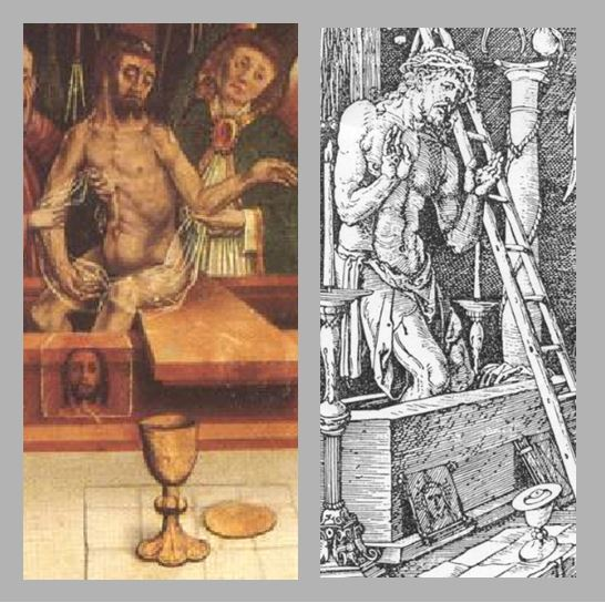 Durer Messe de St Gregoire 1511 comparaison christ calice