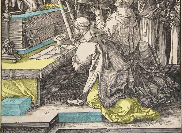 Durer Messe de St Gregoire 1511 tissus casses