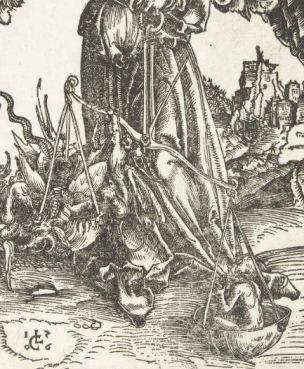 Lucas Cranach l'Ancien, Der Erzengel Michael als Seelenwager, 1506 detail