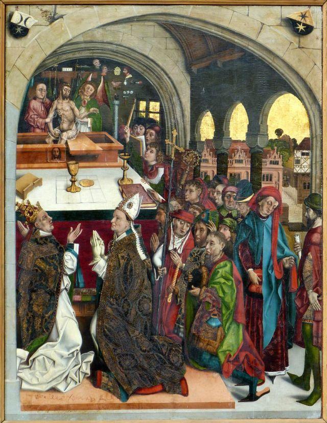 Michael Wolgemut Epitaphe d'un membre de la famille Hehel avec la Messe de Saint Grégoire vers 1481 Nuremberg eglise Saint Laurent