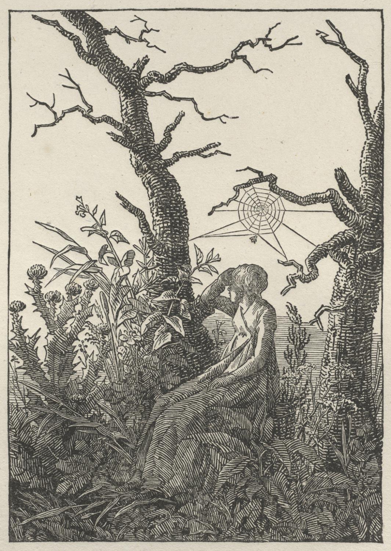 Woman Seated under a Spider's Web (Melancholy), c. 1803, by Caspar David Friedrich