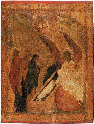 l'apparition de l'ange aux Myrrophores devant le tombeau du Christ 1420 ecole de Roublev Cathedrale de la Trinite Serguiev Possad