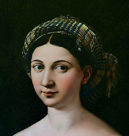 La_Fornarina_by_Raffaello Palais Barberini, 1518-19 Rome detail