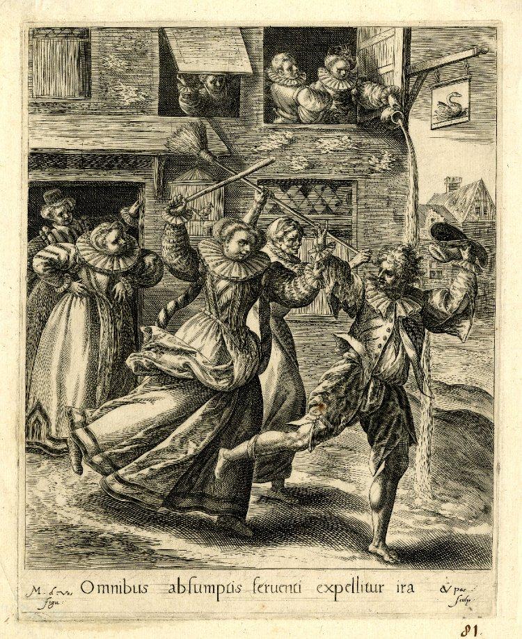 Le fils prodigue chasse par les prostituees Gravure Crispijn de Passe the Elder after Maarten de Vos 1600