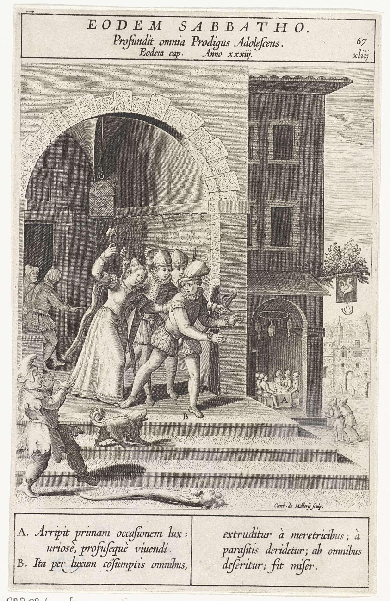 Le fils prodigue chasse par les prostituees gravure Karel van Mallery d apres Bernardino Passeri