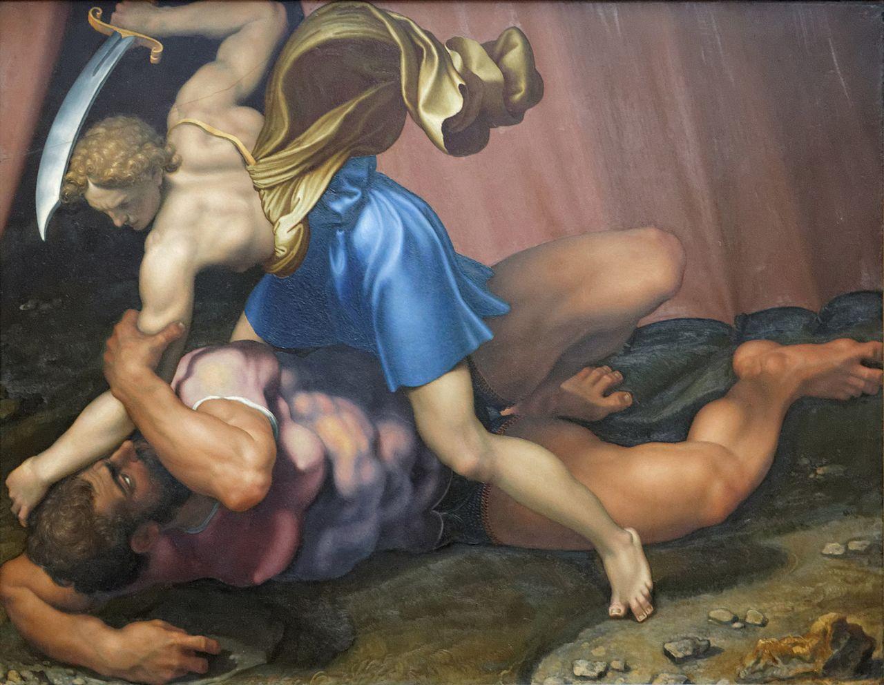 David_and_Goliath_by_Daniele_da_Volterra_(Louvre_INV_566)_verso_02