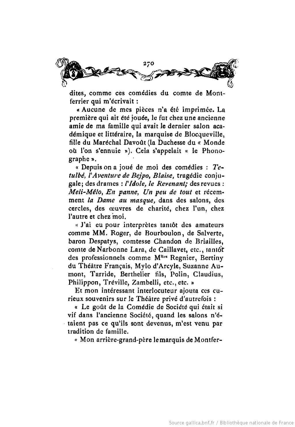 Histoire des theatres de societe Leo Claretie 1906 p 270