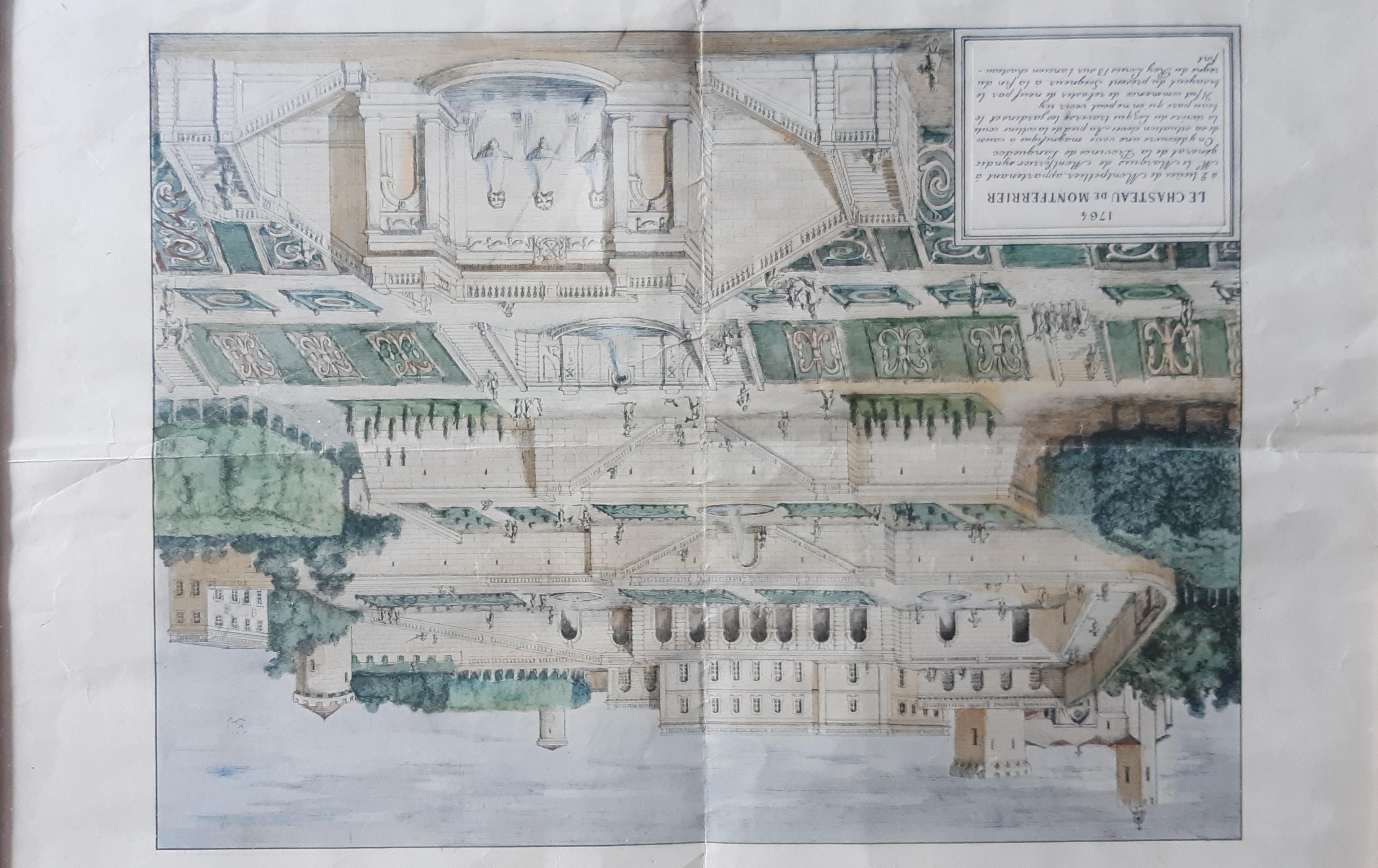 Vue topographique du Chateau de Montferrier en 1764 coll Gladysz
