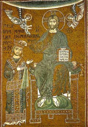 1180 ca Cristo incorona re Guglielmo II, mosaico del Duomo di Monreale Arc triomphal G