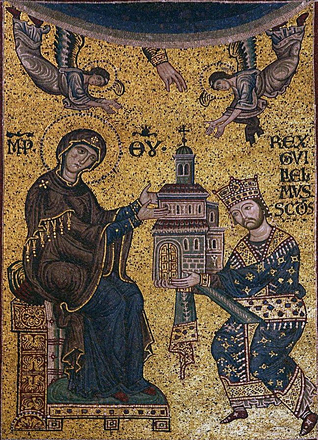 1180 ca Guglielmo II dedica la Cattedrale di Monreale alla Vergine, mosaico del Duomo di Monreale Arc triomphal D