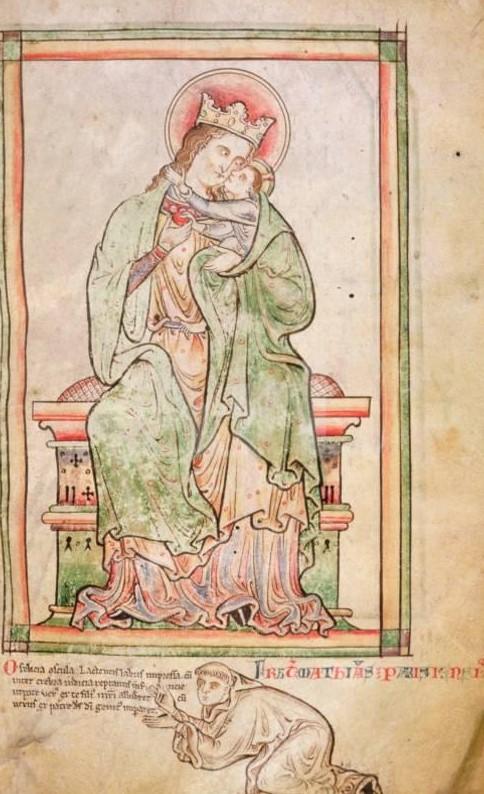 1250-59 L'artiste Matthew le Parisien en prieres manuscript of the Historia Anglorum fait a St Albans BL Royal 14 C VII, f. 6