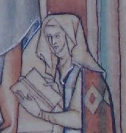 1252-67 Eleanor de Quincy Apocalypse de Lambeth MS 209 f 48 detail donatrice