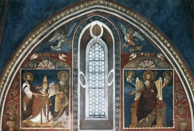 1278-79 Pope Nicholas III Presented to Christ by Sts Peter and Paul Sancta Sanctorum, Latran Rome