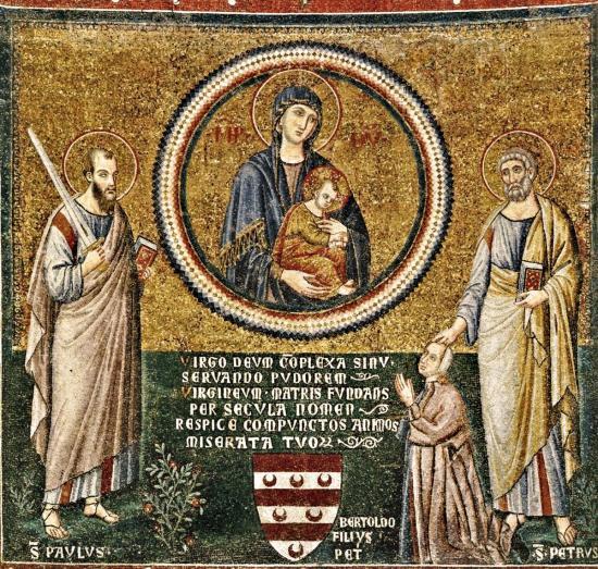1291 Pietro Cavallini, Storie della Vergine, ritratto del committente Bertoldo Stefaneschi, , Basilica di Santa Maria in Trastevere, Roma