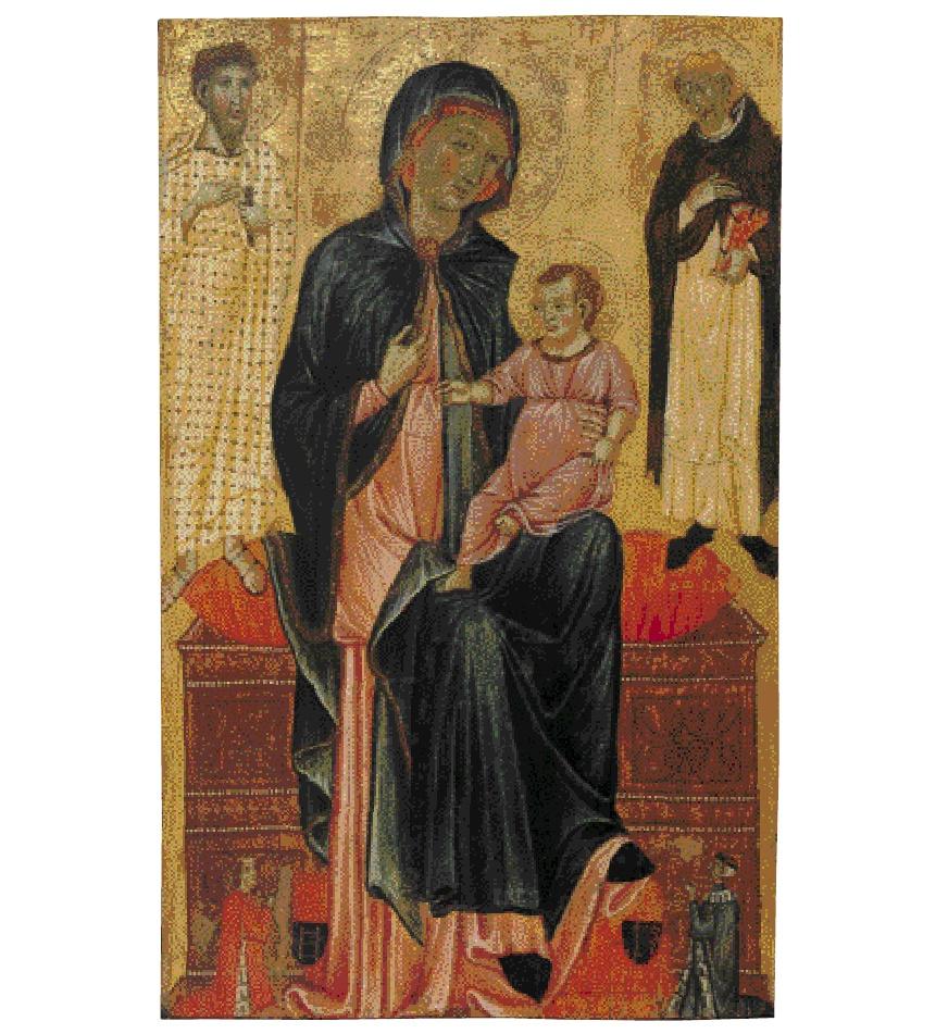 1295 ca Maestro di Varlungo san Bartolomeo, san Domenico e donatori Collezione A. Pittas couleur