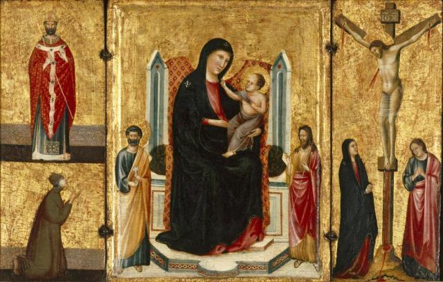 1300-24 Anonimo senese Madonna con Bambino in trono e santi, Santo vescovo e donatore,Memphis Brooks Museum of Art