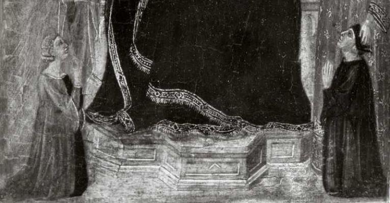 1300-49 Landini Jacopo, Madonna con Bambino in trono, santi, angeli e donatori coll priv detail