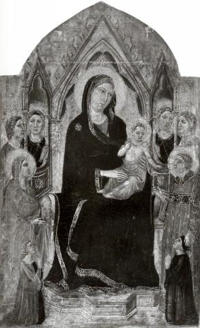 1300-49 Landini Jacopo, Madonna con Bambino in trono, santi, angeli e donatori coll priv