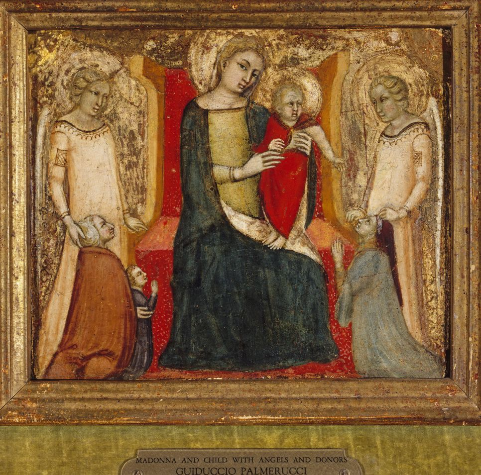 1340 ca Guiduccio Palmerucci Madonna and Child between Two Angels, with a Kneeling unkown Donor, His Wife and Child, Spencer Museum of Art