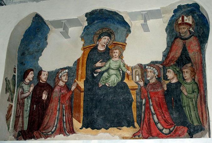 1345 ca St Augustin jurisconsulte Salvarino Aliprandi et famille 2eme chapelle transept S San Marco Milano