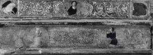 1350 - 1399 Anonimo fiorentino sec. XIV, Madonna con Bambino, Santi, Simboli dei quattro evangelisti, Donatori coll priv detail