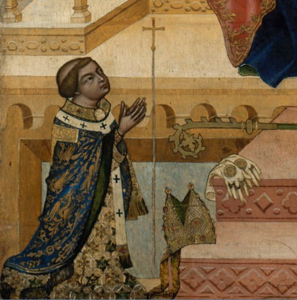 1350 Glatzer_Madonna Bohemian_Master Gemaldegalerie Berlin detail donateur