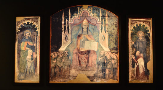 1367-72 Niccolo di Tommaso Celestino V avec Raimondo del Balzo (Guillaume de Gellone) and Isabella d'Eppe (Louis de Toulouse) Casaluce (Caserta)