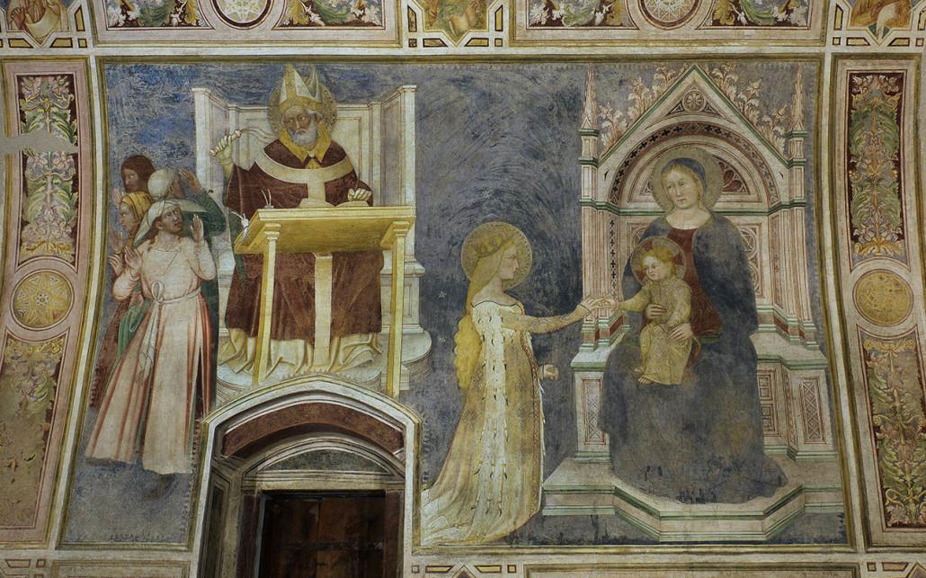 1378 Count Lanfranco Porro capella in Mocchirolo, Brera, Milan, mur gauche SaintAmbrois, mariage mystique