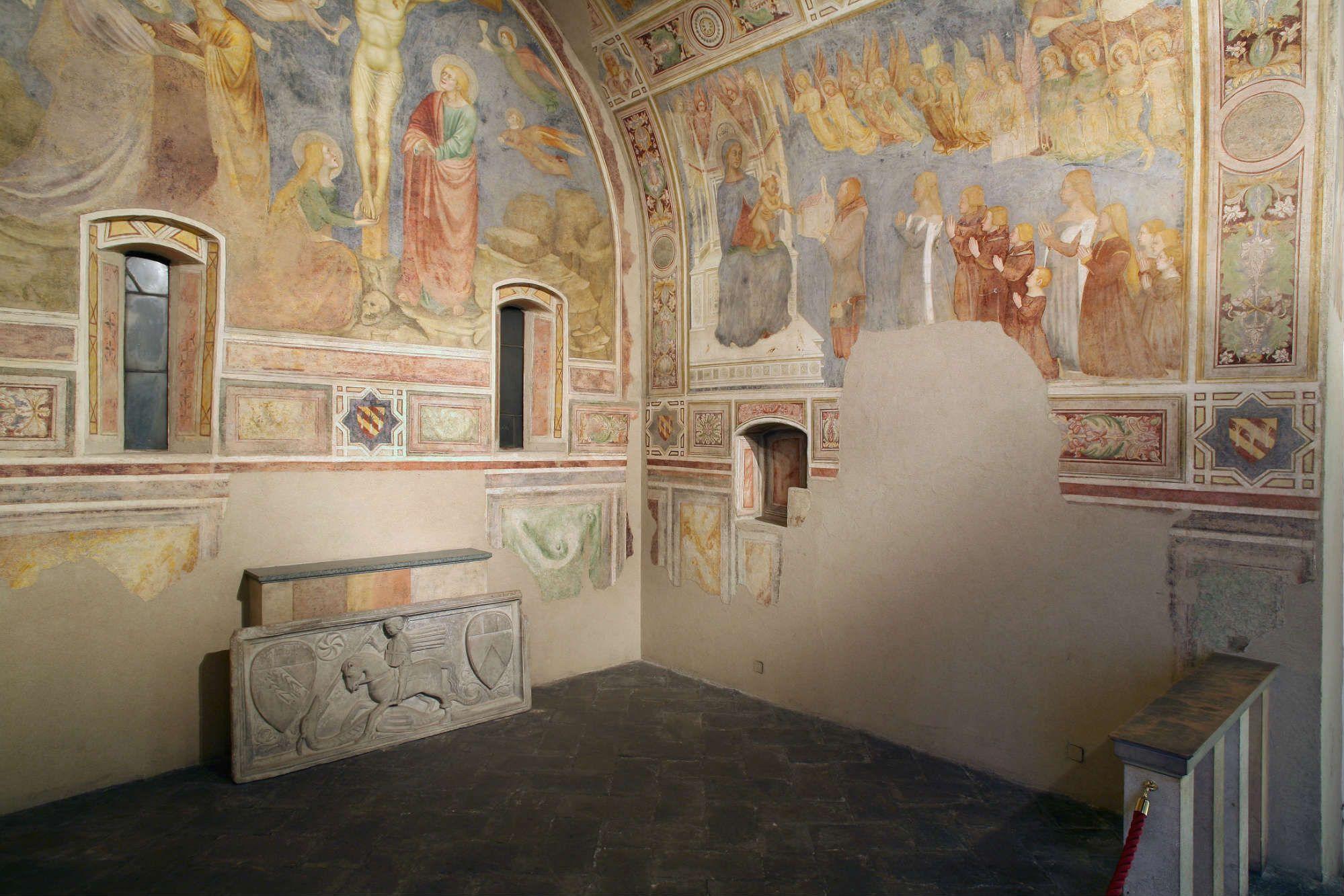 1378 Count Lanfranco Porro capella in Mocchirolo, Brera, Milan, mur gauche droite le comte et sa famille