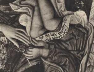 1389-1448 Zanino di Pietro, Madonna con Bambino in trono con angeli e donatore Collezione Tolentino, Roma detail