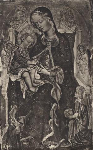 1389-1448 Zanino di Pietro, Madonna con Bambino in trono con angeli e donatore Collezione Tolentino, Roma