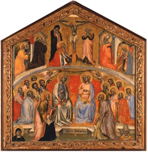 1390-95 Simone di Filippo Cristo e la Madonna fra santi e due devoti Pinacoteca Nazionale Bologna Brigida di Svezia