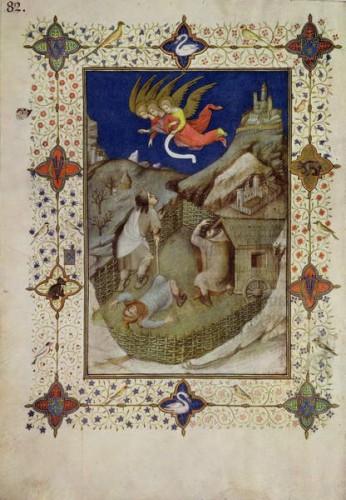 1402 avant Jacquemart de Hesdin - MS 11060-11061 Hours of Notre Dame Tierce Annonce aux bergers