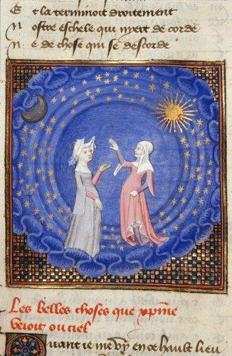 1410-c. 1414 Chemin de Longue Estude Harley 4431 f.189v Les belles choses que Cristine vit au firmament par le conduit deBL