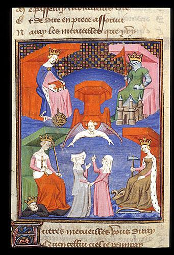 1410-c. 1414 Chemin de Longue Estude Harley 4431 f.192v Les quatre roynes British Library