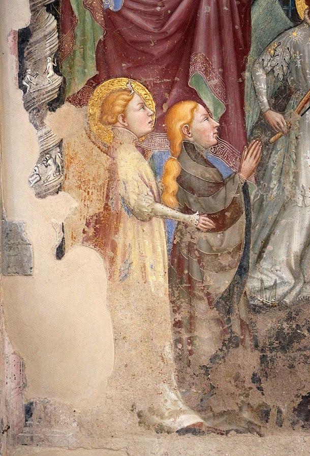1413 Nelli Ottaviano, Madonna del Belvedere Giovanni Evangelista, sant'Antonio Abate e donatori della famiglia Pinoli Chiesa di S. Maria Nuova, Gubbio detail gauche