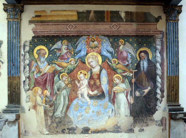 1413 Nelli Ottaviano, Madonna del Belvedere Giovanni Evangelista, sant'Antonio Abate e donatori della famiglia Pinoli Chiesa di S. Maria Nuova, Gubbio