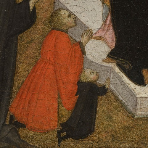 1415-86 ventura-di-moro-enthroned-madonna-with-child,-saint-anthony-abbott-and-two-praying-donors coll priv detail