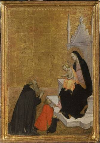 1415-86 ventura-di-moro-enthroned-madonna-with-child,-saint-anthony-abbott-and-two-praying-donors coll priv