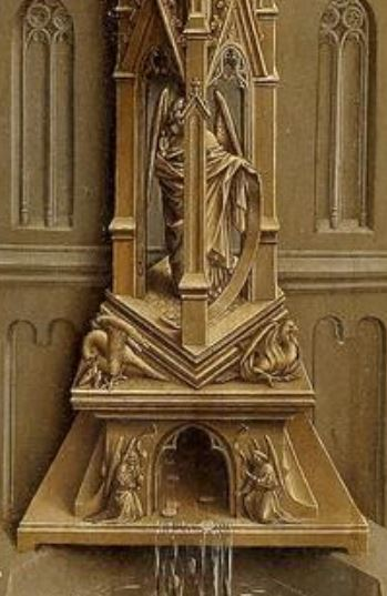 1432 Ecole de Van Eyck The Fountain of Life Prado Madrid detail fontaine