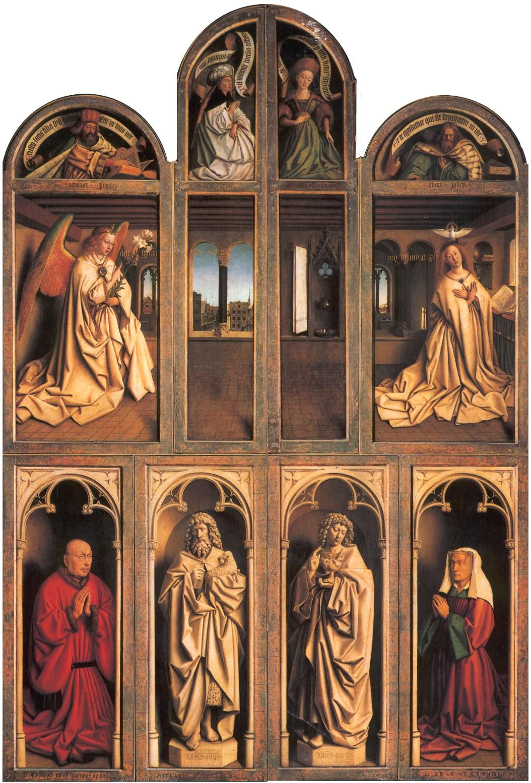 1432 Van Eyck Retable Agneau Mystique ferme Cathedrale Saint Bavon Gand