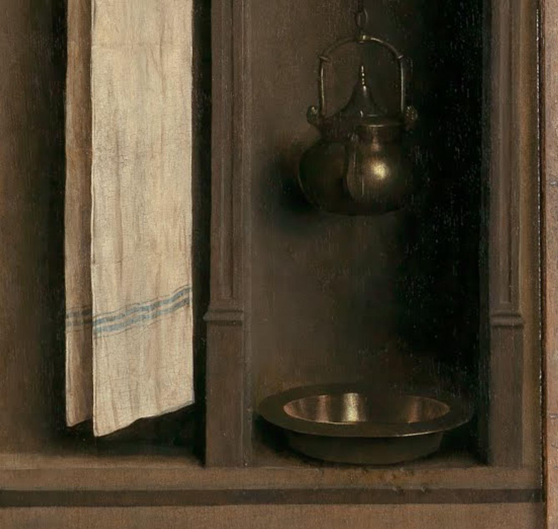1432 Van Eyck Retable Agneau Mystique ferme Cathedrale Saint Bavon Gand detail bassin