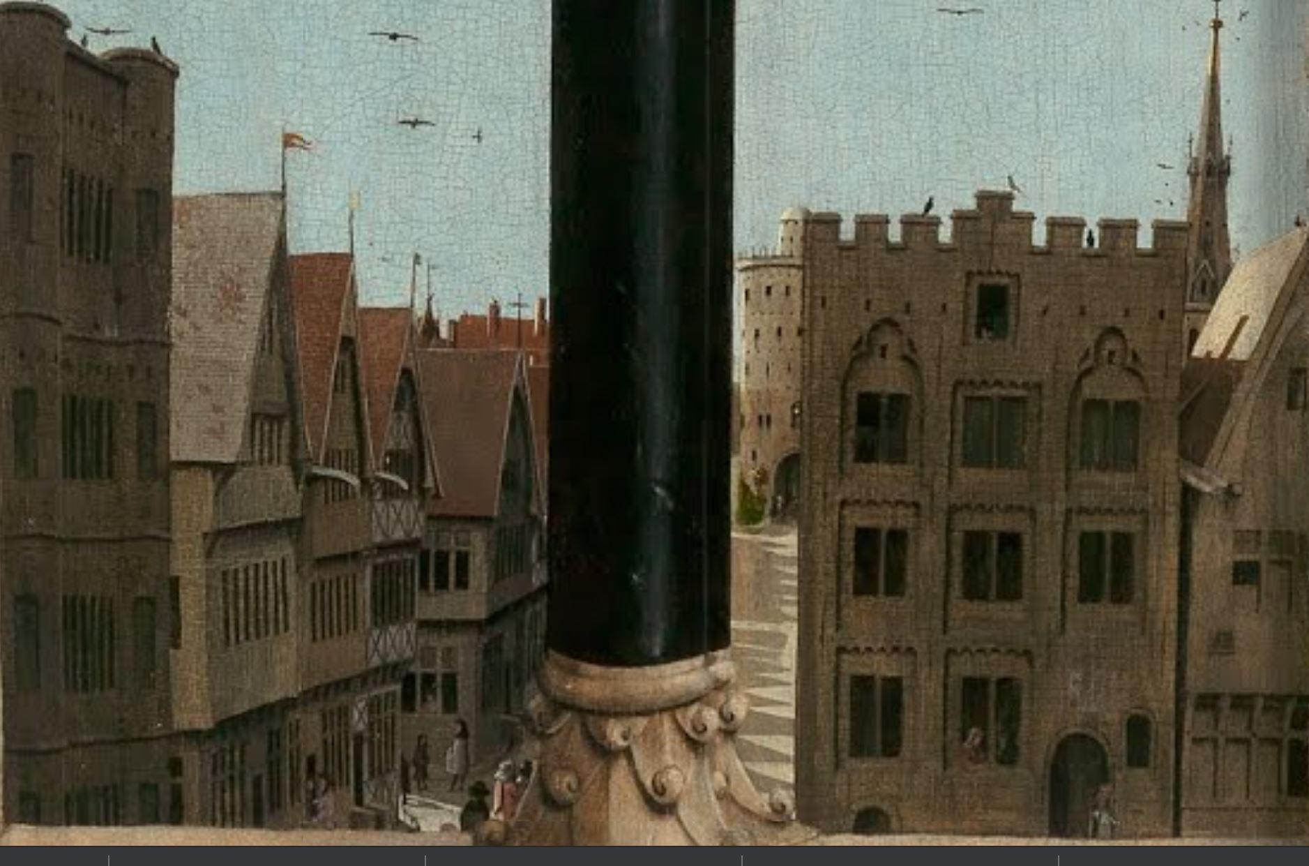 1432 Van Eyck Retable Agneau Mystique ferme Cathedrale Saint Bavon Gand detail rue