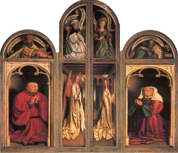 1432 Van Eyck Retable Agneau Mystique ferme Cathedrale Saint Bavon Gand schema 1b