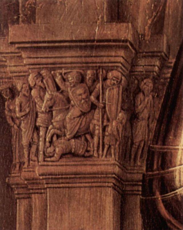 1434-36 Van Eyck La_Madone_au_Chanoine_Van_der_Paele Groeningemuseum, Bruges chapiteau droite