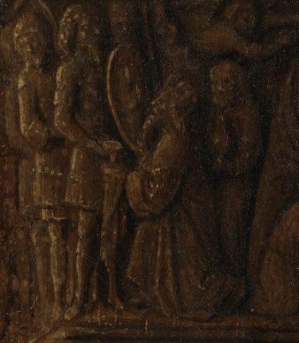 1434-36 Van Eyck La_Madone_au_Chanoine_Van_der_Paele Groeningemuseum, Bruges chapiteaux detail