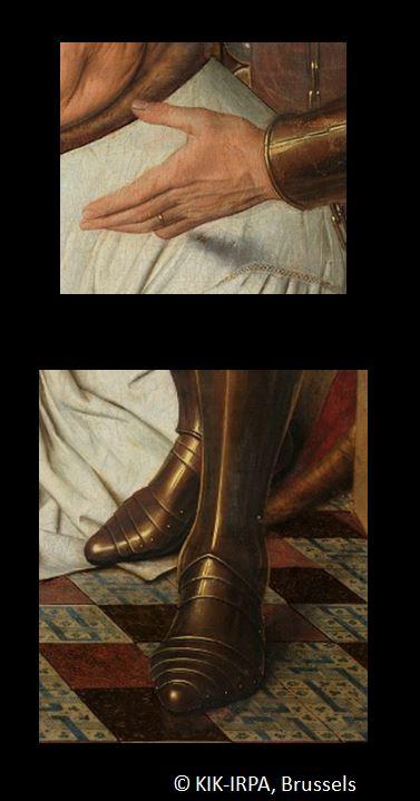 1434-36 Van Eyck La_Madone_au_Chanoine_Van_der_Paele Groeningemuseum, Bruges detail chaussure